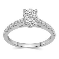0.75 CT. T.W. Oval Shape Bridal Ring Set in 14K Gold