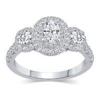 1.50 CT. T.W. Oval Shape Three Stone Diamond Bridal Ring Set in 14K Gold
