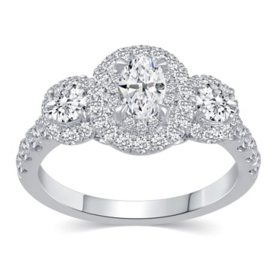 1.50 CT. T.W. Oval Shape Three Stone Diamond Bridal Ring Set in 14K Gold