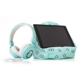Planet Buddies Pepper the Penguin Wired Headphones + Tablet Cushion Stand