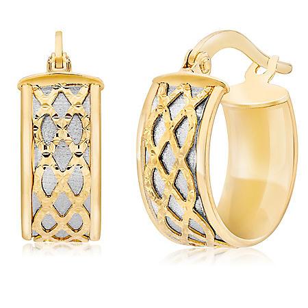 14K Diamond-Cut Satin Huggie Hoop Earrings, 6mmx 10mm