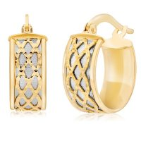 14K Italian Gold Two Tone Caged Huggie