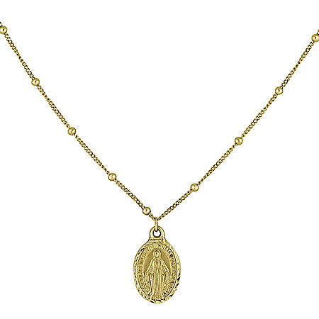 "14K Yellow Gold Virgin Mary Choker Necklace, 16"""