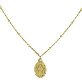 14K Yellow Gold Virgin Mary Choker Necklace, 16""