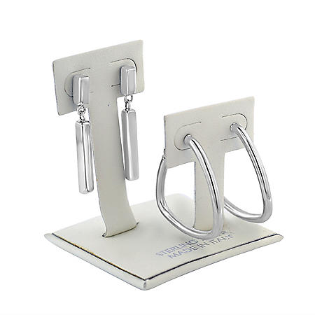 Italian Sterling Silver High Polish Hoop Earring and Drop Earring Cut Set