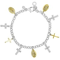 """14K Gold and Sterling Silver Multi Religious Charm Bracelet, 7.5"""""""