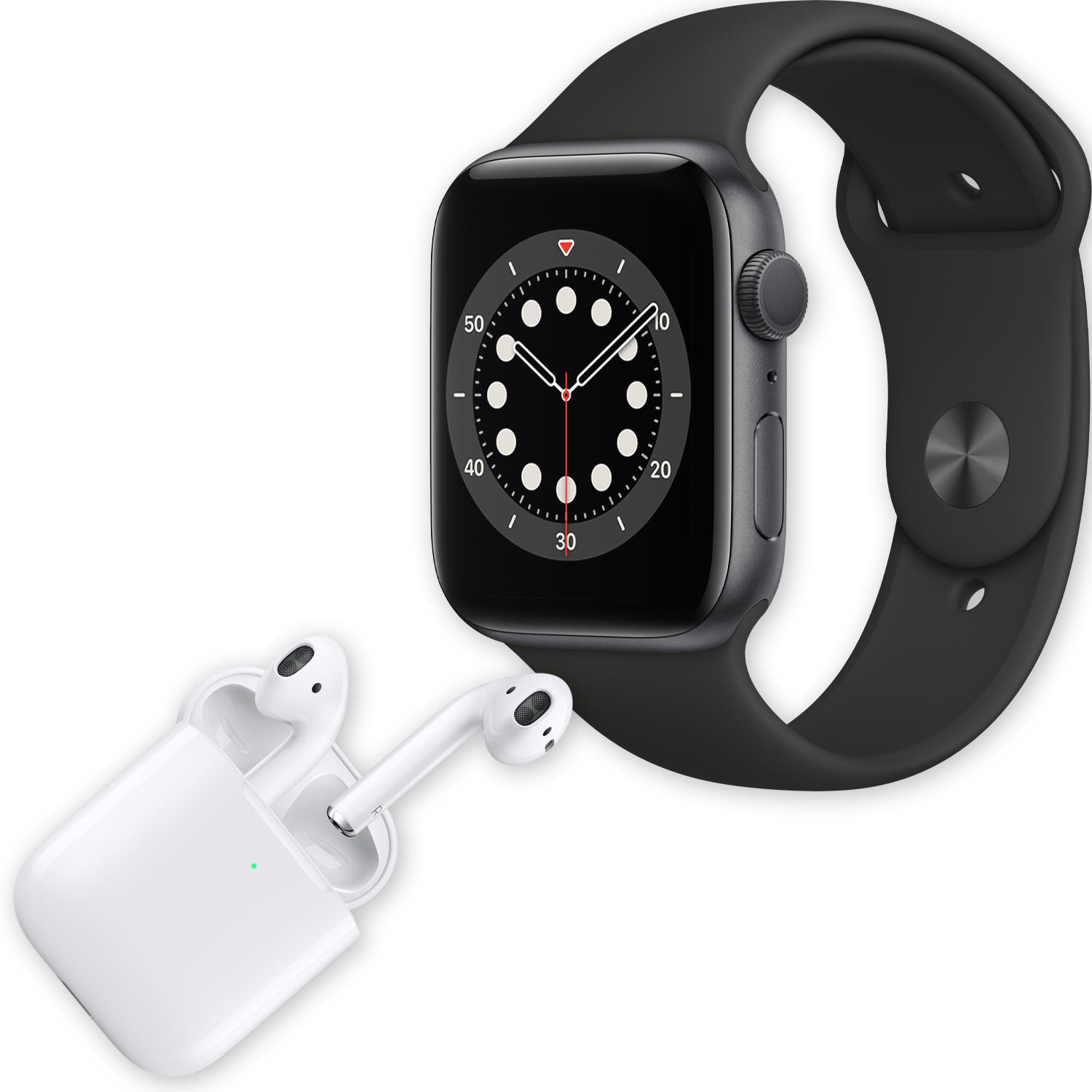 Apple Watch Series 6 44mm GPS Smartwatch (Space Gray Aluminum Case with Black Sport Band) + Apple AirPods with Wireless Charging Case (2nd Generation)