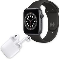 Apple Watch Series 6 44MM GPS (Space Gray Aluminum Case w/ Black Sport Band) + Apple AirPods w/ Wireless Charging Case (2nd Generation) Bundle
