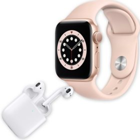 Apple Watch Series 6 40MM GPS (Gold Aluminum Case w/ Pink Sand Sport Band) + Apple AirPods w/ Wireless Charging Case (2nd Generation) Bundle