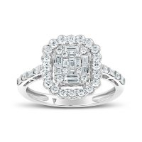 0.85 CT. T.W. Emerald Shaped Diamond Engagement Ring in 14 Karat White Gold