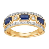 Genuine Sapphire and 0.50 CT. T.W. Diamond Ring in 14K Yellow Gold