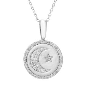 Moon & Star Charm Necklace and 0.16 CT. T.W. Diamonds in Sterling Silver