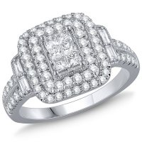 1.00 CT. T.W. Diamond Double Halo Ring in 14K White Gold