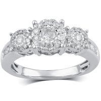 0.75 CT. T.W. Halo Diamond Ring in 14K Gold