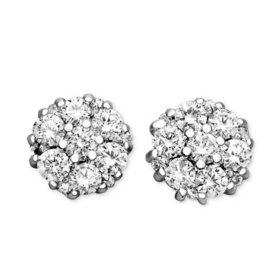 0.50 CT. T.W. Flower Diamond Earrings in 14K Gold