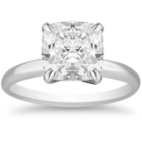 Superior Quality Collection 4.0 CT. T.W. Cushion Shaped Diamond Solitaire Ring in 18K Gold (I, VS2)