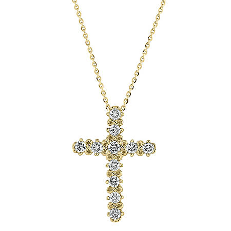 0.23 CT. T.W. Diamond Cross Necklace in 14K Yellow Gold