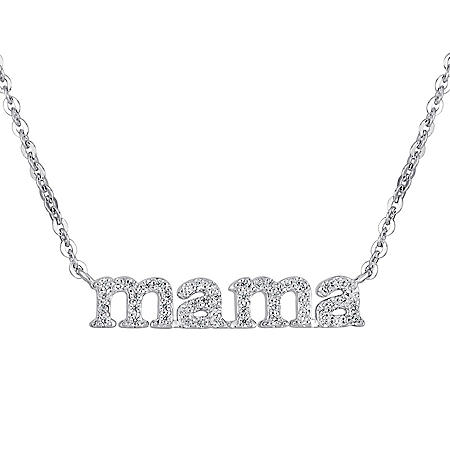 0.15 CT. T.W. Diamond Mama Necklace in Sterling Silver