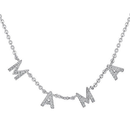 0.16 CT. T.W. Diamond Mama Necklace in Sterling Silver