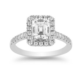 Superior Quality Collection 1.30 CT. T.W. Emerald Shaped Diamond Halo Ring in 18K Gold (I, VS2)