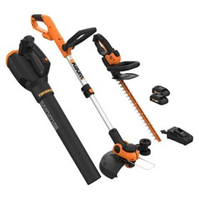 WORX 20V - 3PC Combo Kit (Blower, Trimmer, and Hedge Trimmer)(Free Extra Battery)