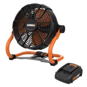 """WORX 20V Cordless 9"""" Fan(Free Extra Battery)"""