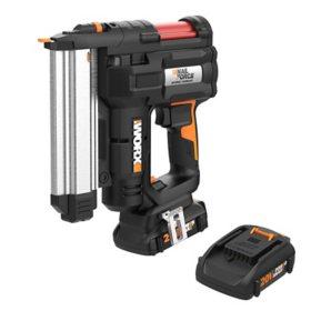 WORX 20V Power Share 18-Gauge Brad Nail/Staple Gun with NailForce Technology(Free Extra Battery)
