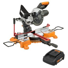 "WORX 20V Power Share 7¼"" Sliding Compound Miter Saw with Work Holding Lever(Free Extra Battery)"
