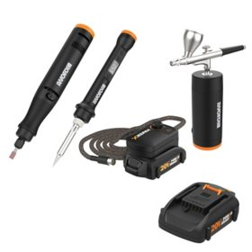 WORX 20V MAKERX Combo - Rotary Tool + Airbrush + Wood & Metal Crafter(Free Extra Battery)