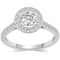 1.00 CT. T.W. Diamond Round Halo Bridal Ring in 14K Gold