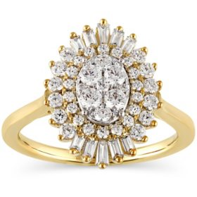 0.96 CT. T.W. Round & Baguette Diamond Ring in 14K Yellow Gold