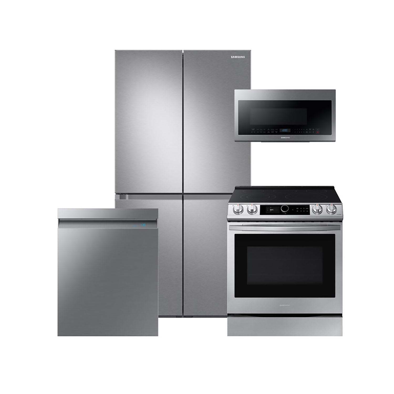 Samsung 4 Piece Kitchen Suite with 29 cu. ft. 4-Door Flex Refrigerator, Smart Dial Range, Microwave, Dishwasher