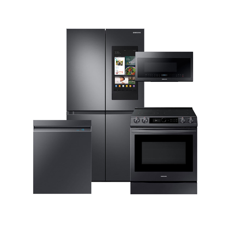 Samsung 4 Piece Electric Kitchen Suite with Family Hub 29 cu. ft. 4-Door Flex Refrigerator, Range, Microwave, Dishwasher