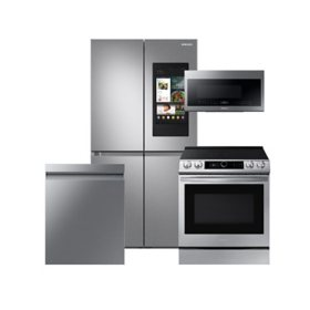 Samsung 4 pc. Electric Kitchen Suite with Family Hub 29 cu. ft. 4-Door Flex Refrigerator