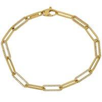 """1.46 CT. T.W. Diamond Paperclip Bracelet in 14K Gold, 7.75"""""""