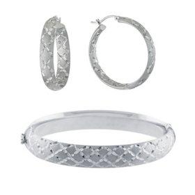 Sterling Silver Diamond Cut Pattern Set