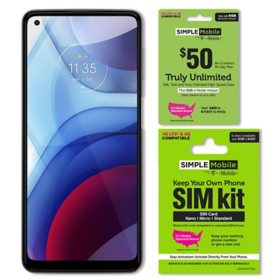 Moto G power (2021 Model) 64GB Unlocked + Simple Mobile $50 Plan and SIM Kit