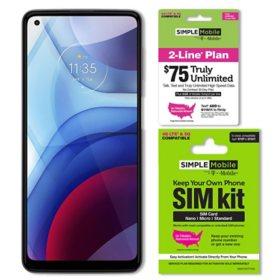 Moto G Power (2021 Model) 64GB Unlocked + Simple Mobile $75 Plan and SIM Kit