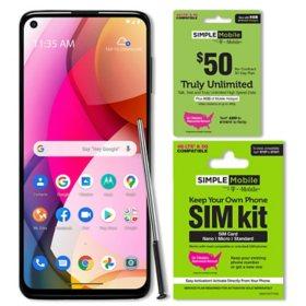 Moto G Stylus 128GB Unlocked + Simple Mobile $50 Plan and SIM Kit