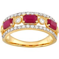 Ruby and 0.50 CT. T.W. Diamond Ring in 14K Yellow Gold