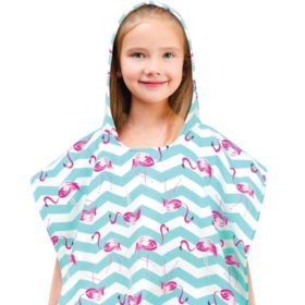 100% Cotton Kids' Hooded Beach Poncho (Assorted Colors)