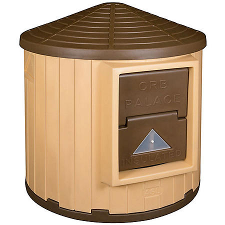 ASL Solutions Insulated Colossal Round Barn Dog House CRB Palace, Tan/Brown