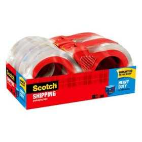 "Scotch Heavy-Duty Packaging Tape with Dispenser, 3"" Core, 1.88"" x 54.6 yds, Clear, 4/Pack (3850-4RD)"
