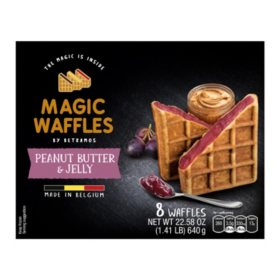 Magic Waffles Peanut Butter and Jelly Filled Waffles, Frozen (8 ct.)