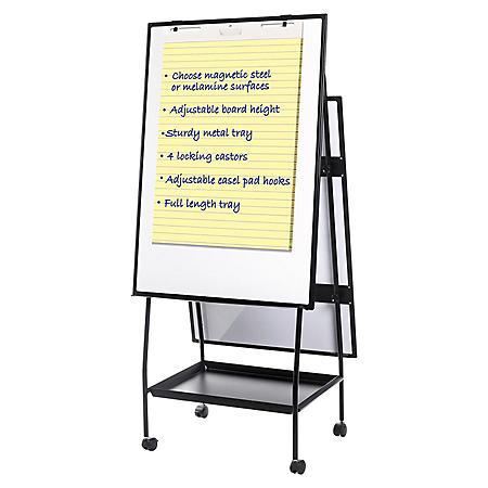 "MasterVision Creation Station Melamine Dry Erase Board, 29.5"" x 74.875"", Black Frame"