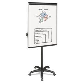 "MasterVision - Silver Easy Clean Dry Erase Mobile Presentation Easel -  44"" to 75-1/4"" High"