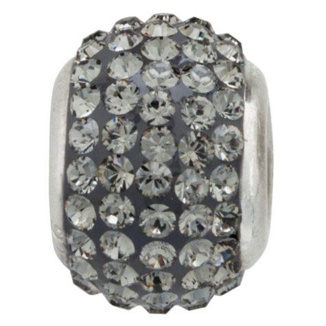 Jet-Grey Genuine Swarovski Crystal Charm Bead in Sterling Silver