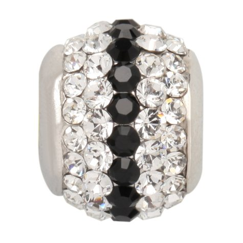 Black and White Genuine Swarovski Crystal Charm Bead in Sterling Silver