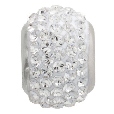 White Genuine Swarovski Crystal Charm Bead in Sterling Silver