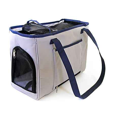 Iconic Pet FurryGo Pet Shoulder Carrier/Bag, Navy Blue/Light Gray